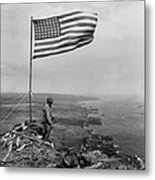 Stars And Stripes Wave Over The Summit Metal Print
