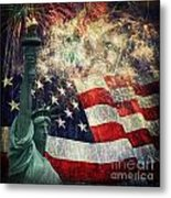 Statue Of Liberty And Fireworks Metal Print
