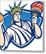 Statue Of Liberty Throwing Football Ball Metal Print
