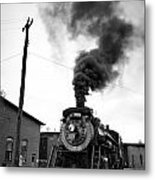 Steam Engine 3254 Black And White Metal Print