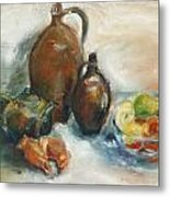 Still Life With Earthen Jugs Metal Print