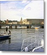 Stockholm City Harbor Metal Print