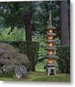 Stone Lantern Illuminated With Candles Metal Print