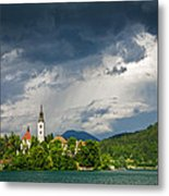 Storm Light Over Lake Bled Metal Print