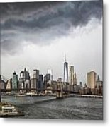 Storm Over Manhattan Downtown Metal Print