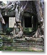 Strangler Fig Tree Roots On Preah Khan Temple Metal Print