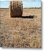 Straw Bales At A Stubbel Field Metal Print