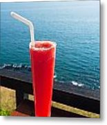 Strawberry Smoothie Soda Metal Print