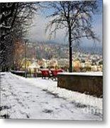 Street With Snow Metal Print