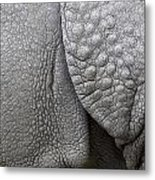 Structure Of The Skin Of An Indian Rhinoceros In A Zoo In The Netherlands Metal Print
