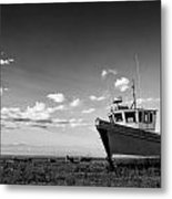 Stunning Black And White Image Of Abandoned Boat On Shingle Beac Metal Print