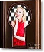Stylish Surprised Women Portrait. Pinup Secret Metal Print