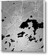 Sudbury Street Map - Sudbury Canada Road Map Art On Colored Back Metal Print