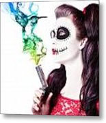 Sugar Skull Girl Blowing On Smoking Gun Metal Print