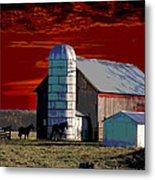 Sundown On The Farm Metal Print