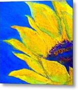 Sunflower In Blue Metal Print
