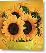 Sunflowers In Vase Metal Print by Elena Elisseeva