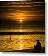 Sunrise Fishing Metal Print