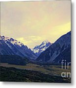Sunrise On Aoraki Mount Cook In New Zealand Metal Print