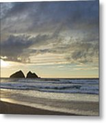 Sunset At Holywell Bay Metal Print