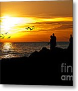 Sunset At South Jetty Metal Print