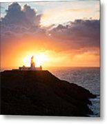 Sunset At Strumble Head Lighthouse Metal Print