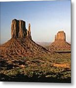 Sunset Light With Mittens And Desert In Monument Valley Arizona  Metal Print