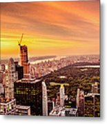 Sunset Over Central Park And The New York City Skyline Metal Print