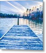 Sunset Over Lake Wylie At A Dock Metal Print