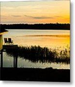 Sunset Over The Lake Metal Print