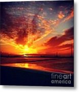 Sunset Puddle Reflections Metal Print