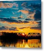 Sunset Railroad Bridge Metal Print