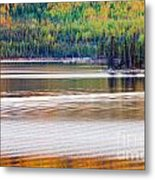 Sunset Reflections On Boreal Forest Lake In Yukon Metal Print