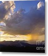 Sunset While Raining Over Mt. Mansfield Stowe Vermont Metal Print