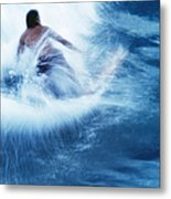 Surfer Carving On Splashing Wave, Interesting Perspective And Blur Metal Print