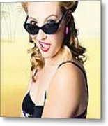 Surprised Pinup Girl On Tropical Beach Background Metal Print