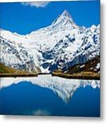 Swiss Alps - Schreckhorn Reflection  Metal Print