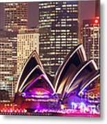 Sydney Skyline At Night With Opera House - Australia Metal Print