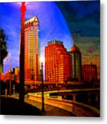 Tampa History In Reflection Metal Print