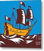 Tall Sailing Ship Retro Woodcut Metal Print