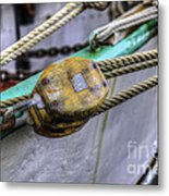 Tall Ship Wooden Line Block Metal Print