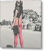 Tall Young Black Woman Modelling Handbag Accessory Metal Print
