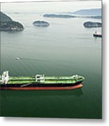 Tanker Ships At Anchor Offshore Of The Metal Print