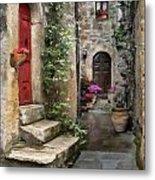 Tarquinia Red Door Impasto Metal Print