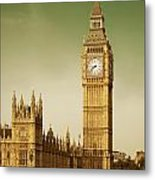 Taxi And Big Ben Metal Print