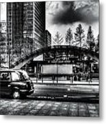 Taxi At Canary Wharf Metal Print