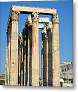 Temple Of Olympian Zeus And Acropolis In Athens Metal Print