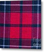Texture Of Red-black Checkered Fabric  Metal Print
