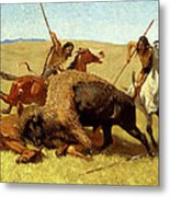 The Buffalo Hunt Metal Print by Frederic Remington