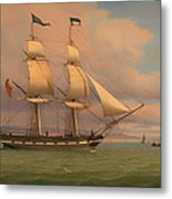The English Brig Norval Before The Wind Metal Print